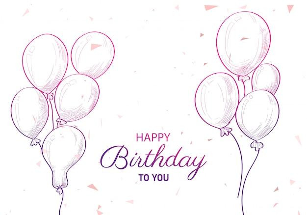 Aniversário desenhado à mão com fundo de desenho de balões