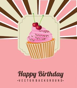 Aniversário do bolo do copo