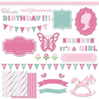 Aniversário e menina bebê chuveiro design conjunto de elementos.