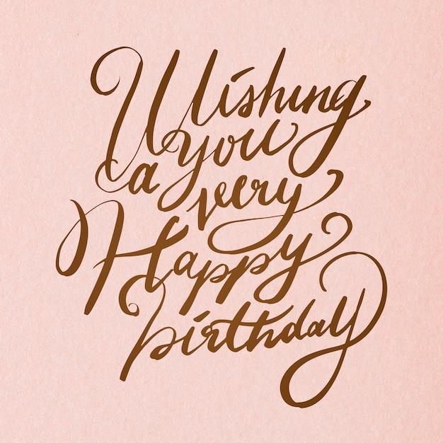 Aniversário elegante desejo caligrafia cursiva