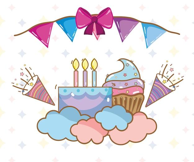 Aniversário, festa, unicórnio, cartoons de festa