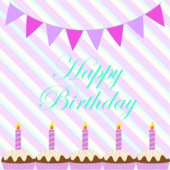 Aniversário, fundo, cupcakes