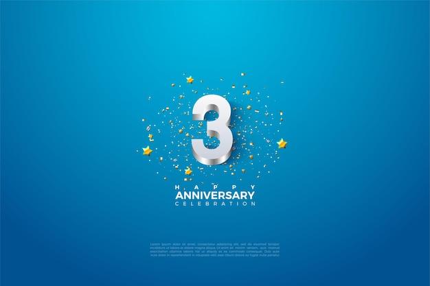 Aniversário ilustrado com numerais decorrentes de prata brilhante.