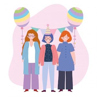 Aniversário ou reunião de amigos, mulheres do grupo com ilustração de celebração de decoração de estamenha de balão de chapéu