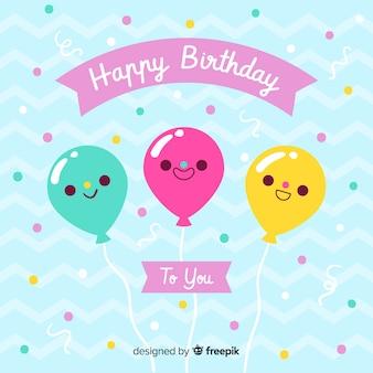 Aniversário plana com fundo de balões