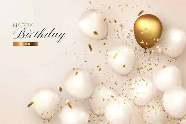 Aniversário realista com balões brancos e dourados