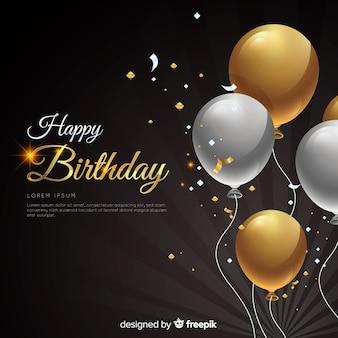 Aniversário realista com fundo de balões