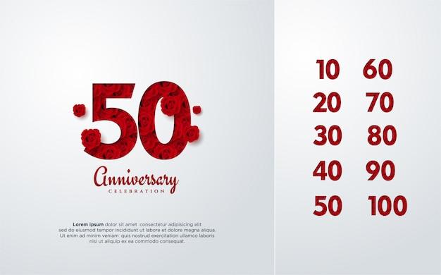 Aniversário s de rosas vermelhas, formando os números.