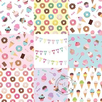 Aniversário sem costura padrão definido com doces.