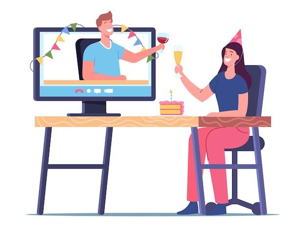 Aniversário virtual, festa online, evento festivo em casa