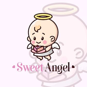 Anjo bebê bonito trazer um pedaço de mascote de desenho animado Vetor Premium