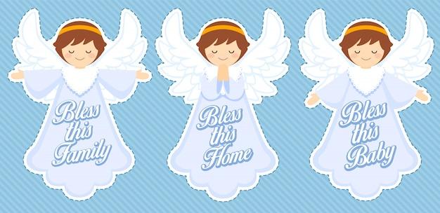 Anjo bonito de bênção, decoração de bebê menino