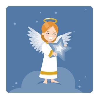 Anjo com uma estrela azul em um fundo escuro do céu e das estrelas. ilustração plana