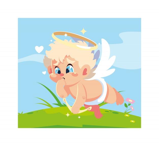 Anjo cupido apontando uma flecha, dia dos namorados