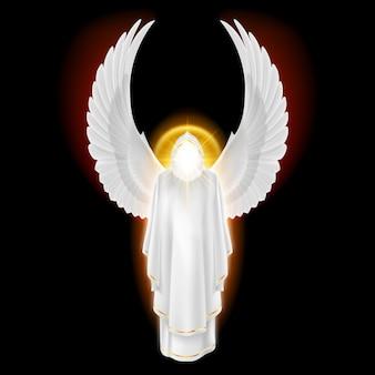 Anjo da guarda deuses em vestido branco com brilho dourado sobre fundo preto. imagem de arcanjos.