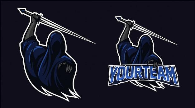 Anjo da morte segurando espada com dedo apontando design do logotipo da mascote