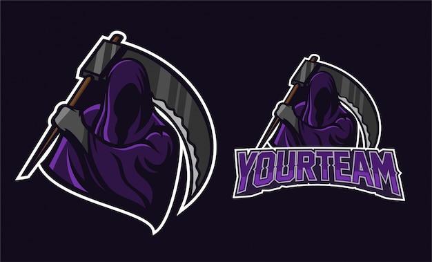 Anjo da morte segurando scythe mascote logotipo design