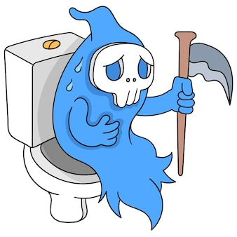 Anjo da morte sentado no armário do banheiro sentindo dor de estômago, arte de ilustração vetorial. imagem de ícone do doodle kawaii.