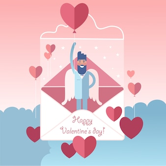 Anjo de barba voadora de asas brancas com balão em forma de coração dia dos namorados