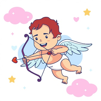 Anjo de bebê menino bonito segurar arco e flecha de amor