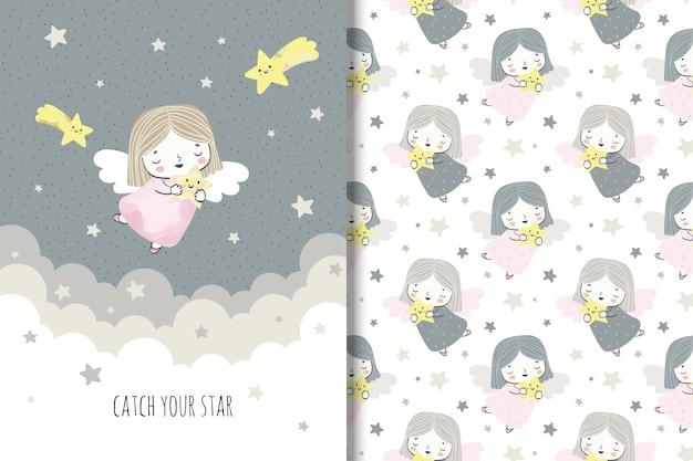 Anjo de liittle dos desenhos animados com estrelas. llustration e padrão sem emenda para crianças