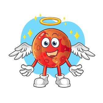 Anjo de marte com asas. personagem de desenho animado