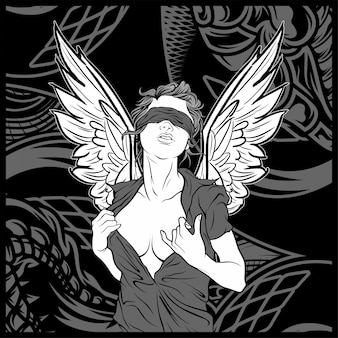 Anjo de mulheres com desenho de mão de asa