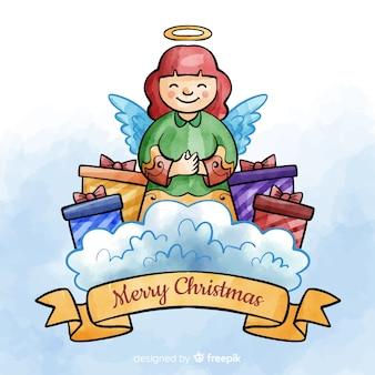 Anjo de natal em aquarela com fundo de presentes