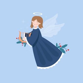Anjo de natal em design plano