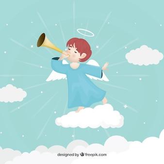 Anjo de natal na nuvem tocando música