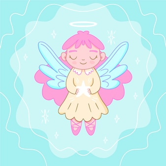 Anjo de vista frontal com asas violeta feliz natal