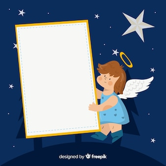 Anjo desenhado de mão segurando cartaz em branco