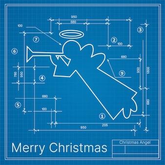 Anjo do projeto de decoração de inverno de natal no símbolo cartão postal de esboço azul de ano novo