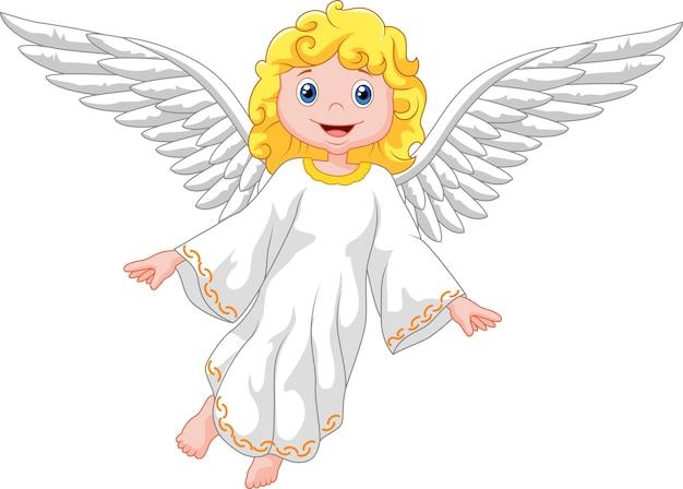 Anjo dos desenhos animados isolado no fundo branco