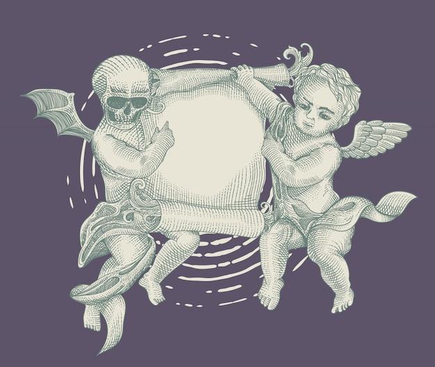 Anjo e demônio com papel vintage