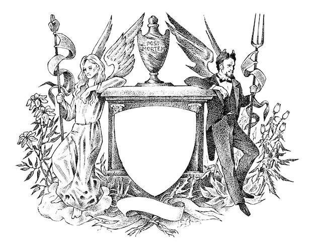 Anjo e demônio mulher e homem com decoração de asas para os brasões da heráldica medieval vintage