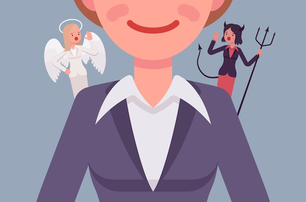 Anjo e demônio nos ombros da mulher