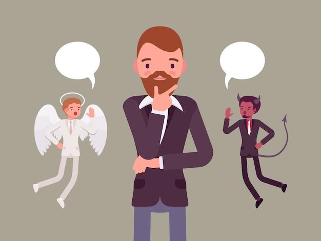 Anjo e demônio pairando sobre um homem que pensa