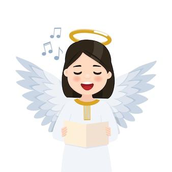 Anjo em primeiro plano cantando no fundo do wihte. ilustração plana isolada