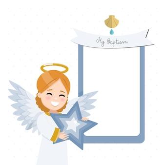 Anjo em primeiro plano com uma estrela azul. convite de batismo com mensagem. ilustração plana