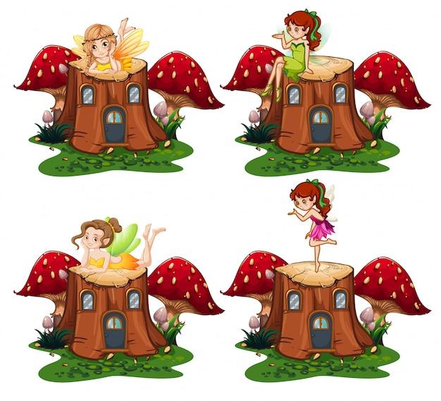 Anjo fada na madeira