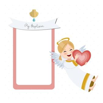 Anjo feliz com coração vermelho. convite de batismo com mensagem. ilustração vetorial plana