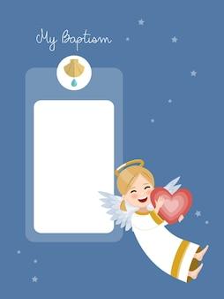 Anjo feliz com coração vermelho. convite de batismo com mensagem no céu azul e estrelas. ilustração vetorial plana