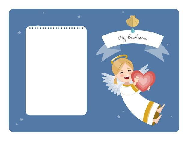 Anjo feliz com coração vermelho. convite horizontal de batismo com mensagem. ilustração vetorial plana