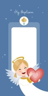 Anjo feliz com coração vermelho. convite vertical do batismo no convite do céu azul e das estrelas. ilustração vetorial plana