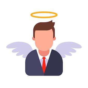 Anjo masculino em um terno de negócio. ilustração plana.