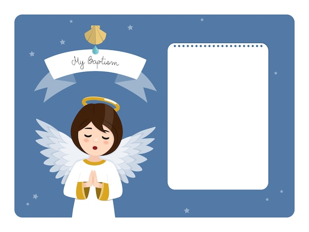 Anjo orando. convite horizontal do batismo no céu azul e nas estrelas. ilustração vetorial plana