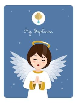 Anjo orando em primeiro plano. lembrete de batismo em um céu azul. ilustração vetorial plana