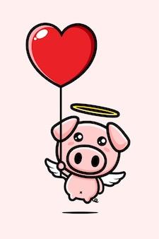 Anjo porco fofo voando com balão de coração