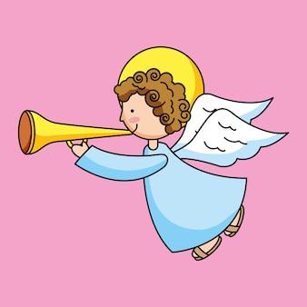 Anjo sagrado com trombeta